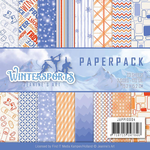 "Find It Trading Jeanine's Art Paper Pack 6""X6"" 24/Pkg - Wintersports, 16 Double-Sided Designs"