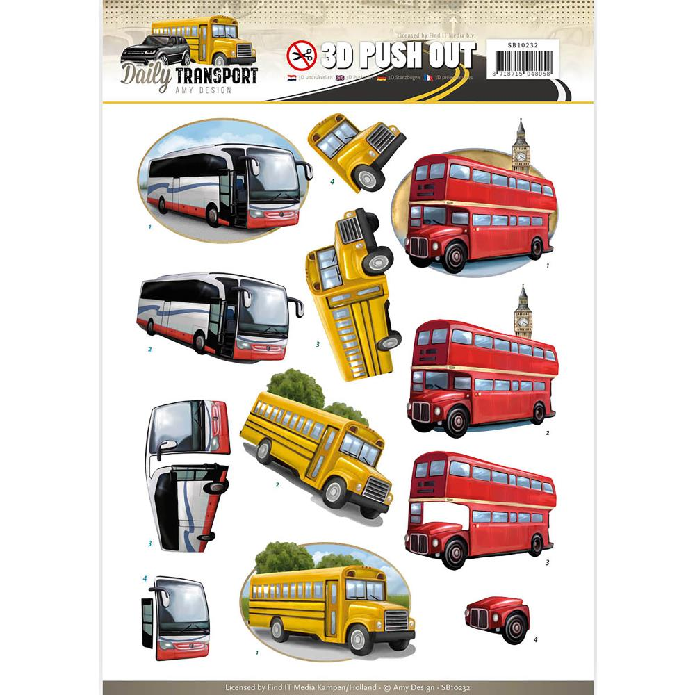 Find It Amy Design Daily Transport - 3D Push Out Sheet - By Bus