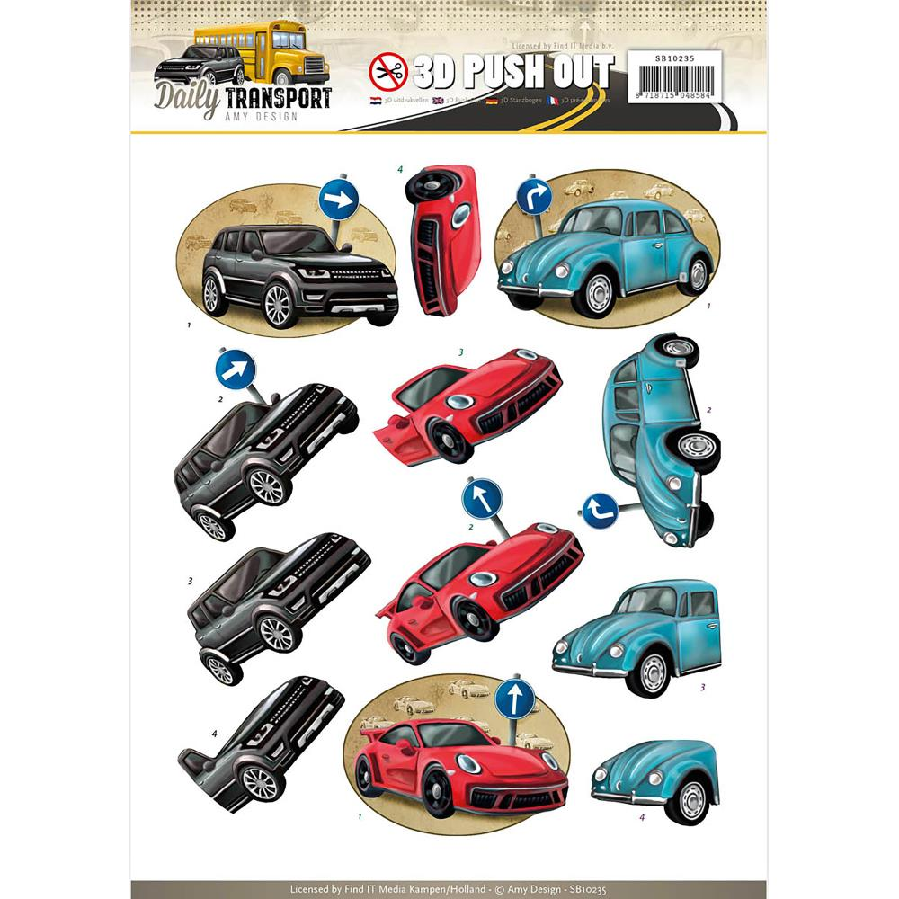 Find It Amy Design Daily Transport - 3D Push Out Sheet - Daily Cars