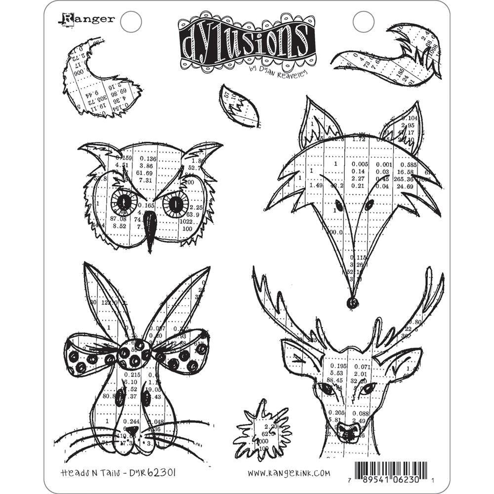 "Ranger - Dyan Reaveley's Dylusions Cling Stamp Collections 8.5""X7"" - Heads N Tails"