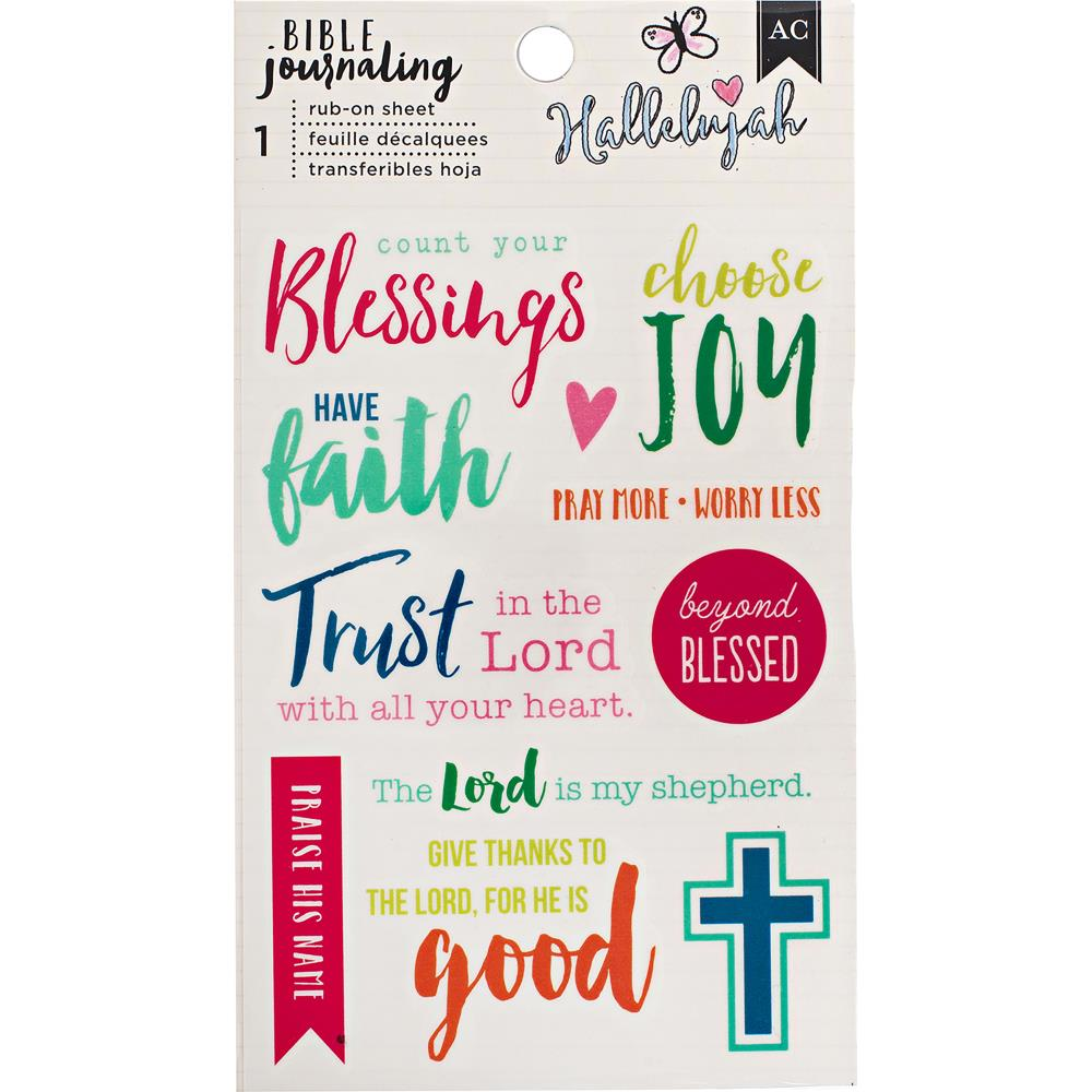 "American Crafts  -  Bible Journaling Rub-On Sheet 4""X6.5"" -  Blessing"