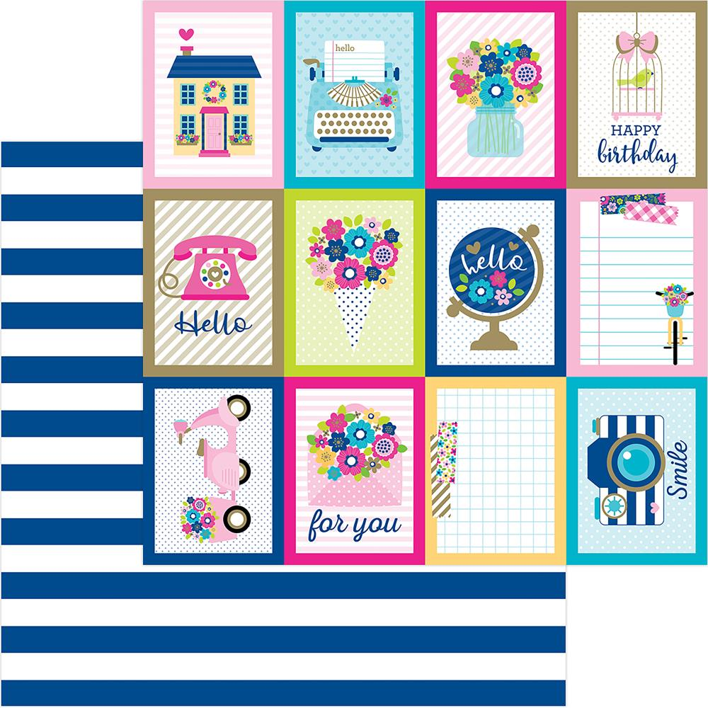 "Doodlebug - Hello Double-Sided Cardstock 12""X12"" - Navy Stripe"