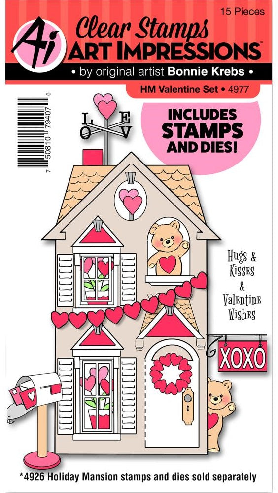 Art Impressions - Holiday Mansion Stamp & Die Set - Valentine Set
