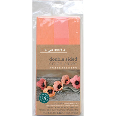 Lia Griffith - Crepe Paper - Double-Sided Extra Fine Crepe Paper 2/Pkg - Honeysuckle/Coral & Apricot/Light Rose