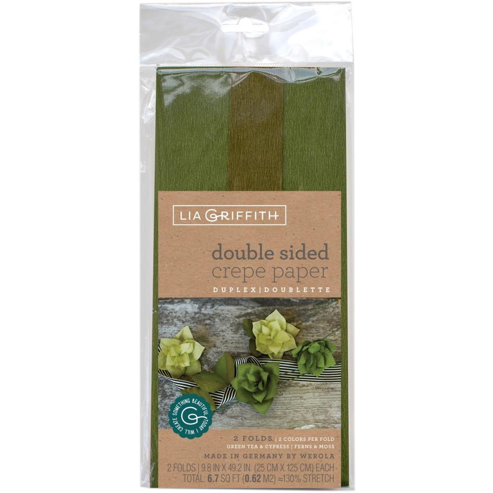 Lia Griffith - Crepe Paper - Double-Sided Extra Fine Crepe Paper 2/Pkg - Green Tea/Cypress & Ferns/Moss