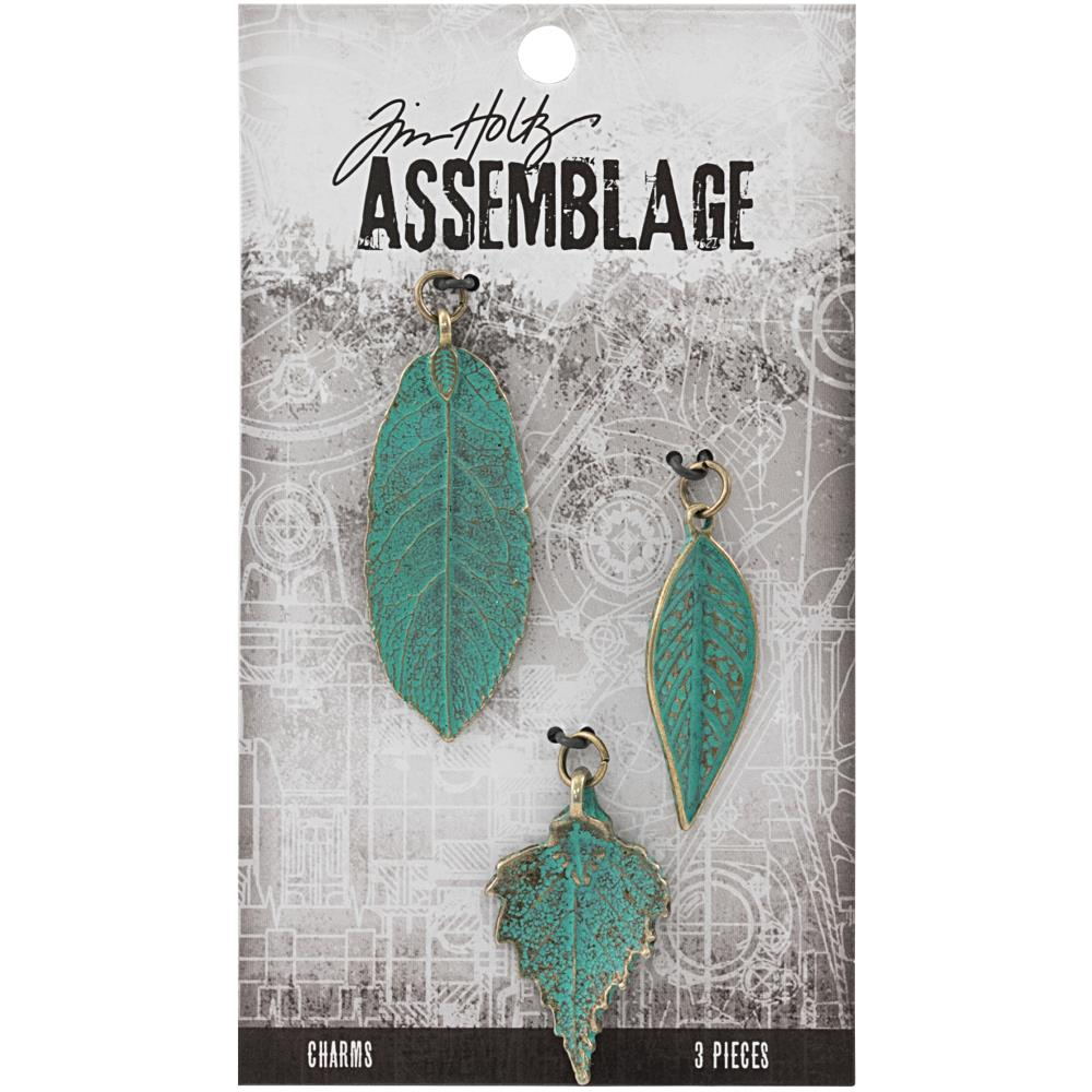 Advantus - TIM HOLTZ ASSEMBLAGE CHARMS 3PCS - Patina Leaves