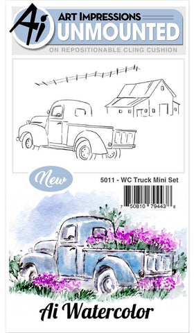 (Pre Order) Art Impressions - Watercolor Cling Rubber Stamps - Truck Mini Set