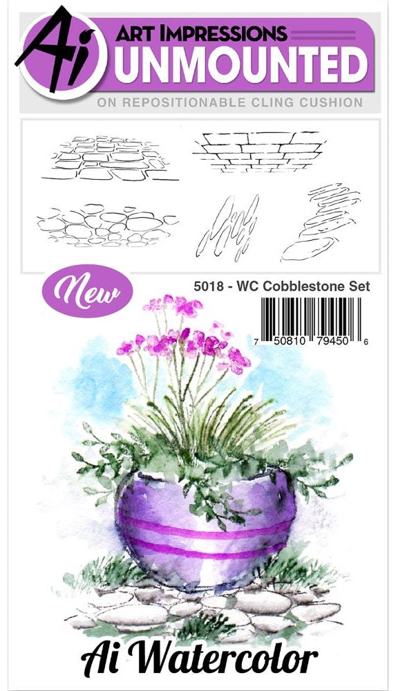 Art Impressions - Watercolor Cling Rubber Stamps - Cobblestone Set