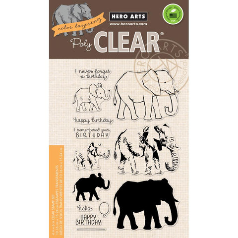 "(Pre Order)  Hero Arts - Clear Stamps 4""X6"" - Color Layering Elephant"