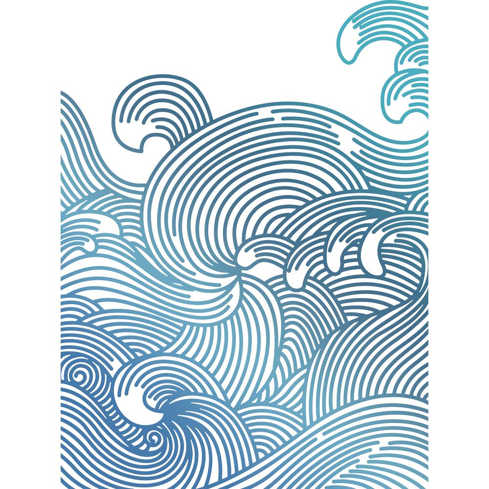 "Couture Creations - Seaside And Me Hotfoil Stamp - Swirling Seas 3.2""X4.2"""