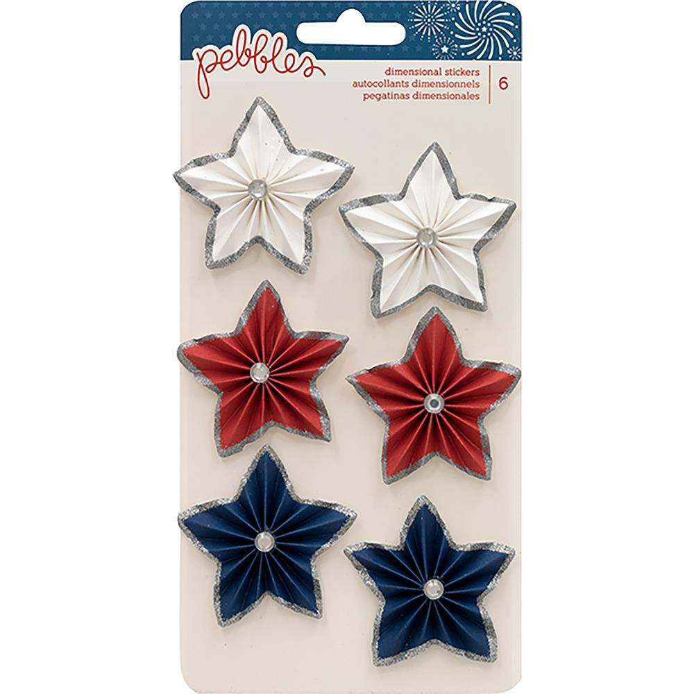 Pebbles - Land That I Love - Dimensional Stickers Star Rosettes