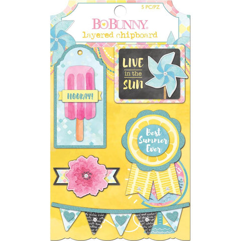 (Pre Order - May)  BoBunny Summer Mood Adhesive Layered Chipboard