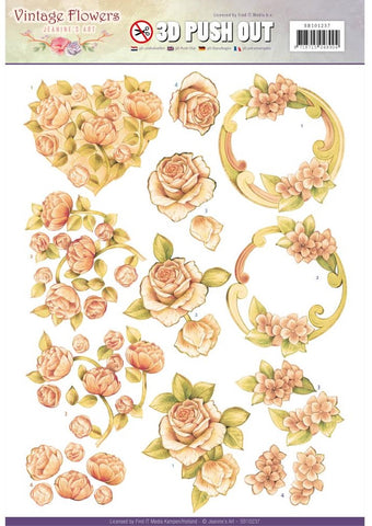 Find It Trading - Jeanine's Art Vintage Flowers 3D Push Out - Romantic Vintage