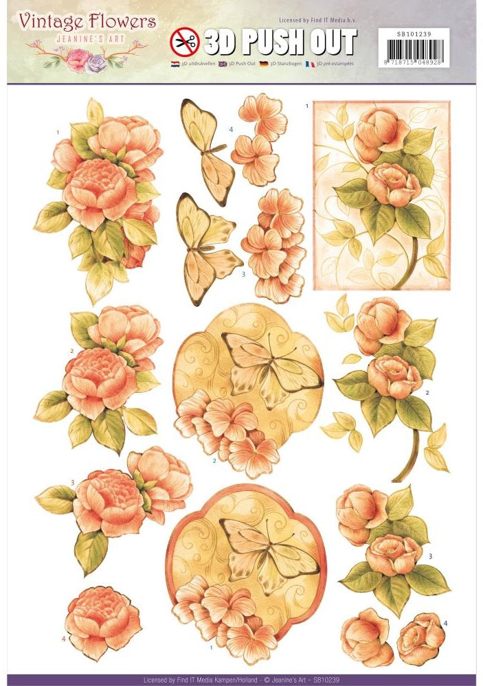 Find It Trading - Jeanine's Art Vintage Flowers 3D Push Out - Sweetheart Vintage