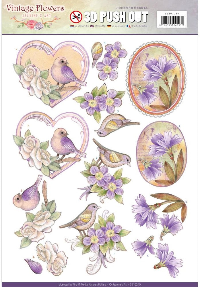 Find It Trading - Jeanine's Art Vintage Flowers 3D Push Out - Pale Violet