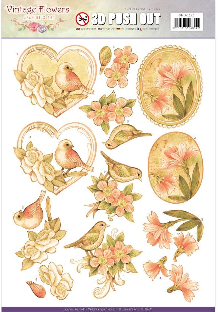 Find It Trading - Jeanine's Art Vintage Flowers 3D Push Out - Pale Vintage