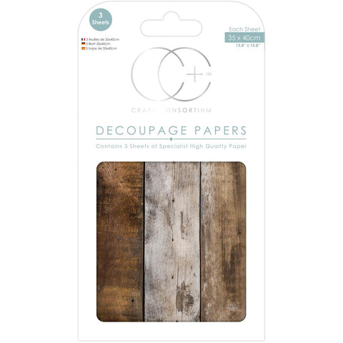 "Craft Consortium - Decoupage Papers 13.75""X15.75"" 3/Pkg - Wood Cabin"