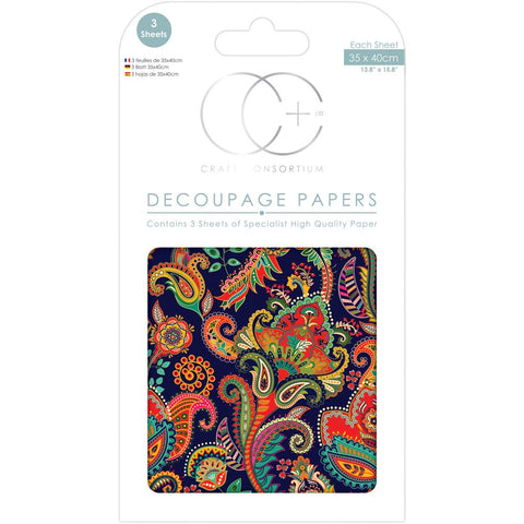 "Craft Consortium - Decoupage Papers 13.75""X15.75"" 3/Pkg - Indian Paisley"