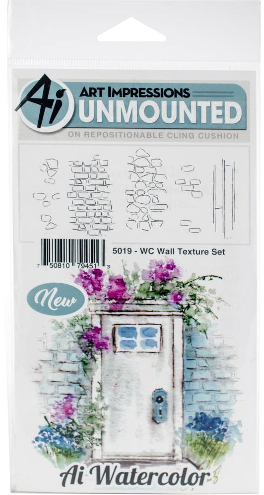Art Impressions - Watercolor Cling Rubber Stamps - Wall Texture Set