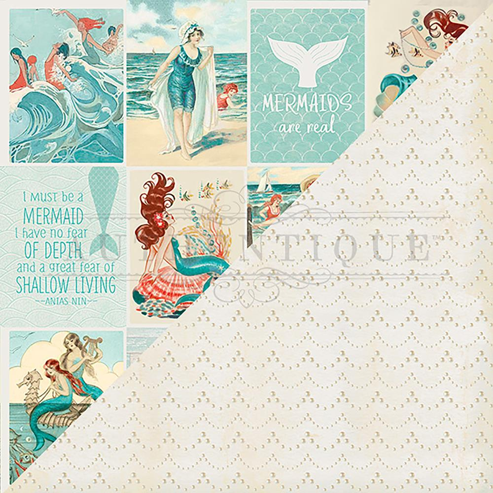 "Authentique Paper - Sea-Maiden Double-Sided Cardstock 12""X12"" -  #8 Cut-Apart 3""X4"" Vintage Cards"