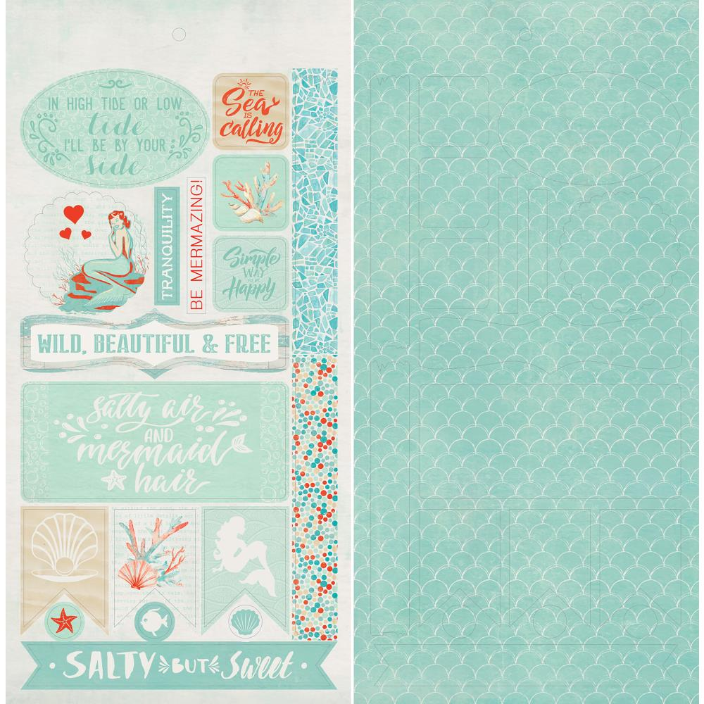 "Authentique Paper - Sea-Maiden Double-Sided Cardstock Die-Cut Sheet 6""X12"" - Accents"