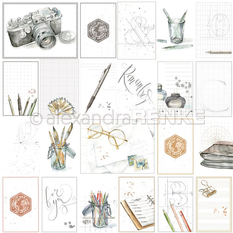 "Alexandra Renke - Midori Basic Design Paper 12""X12"" - Card Sheet Travel For You"