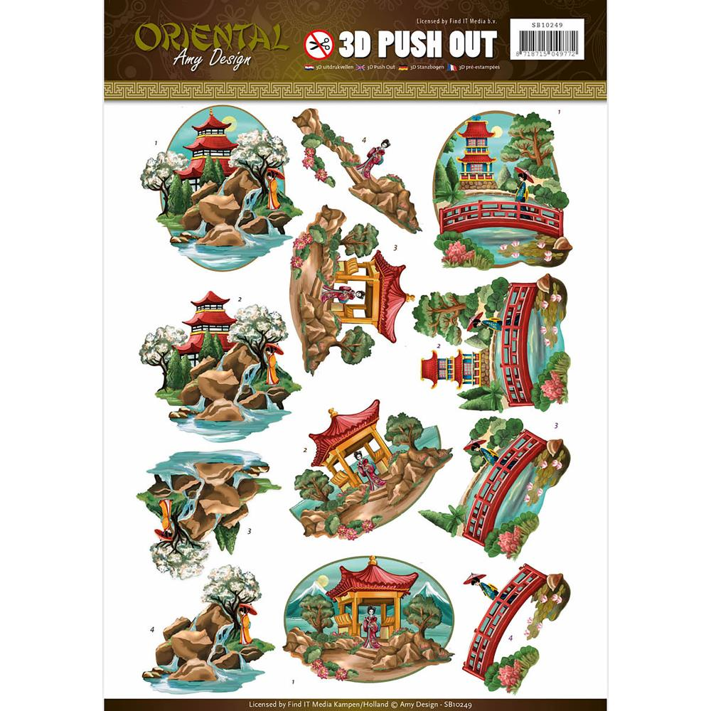 Find It Amy Design - Oriental - 3D Push Out Sheet - Oriental Landscapes