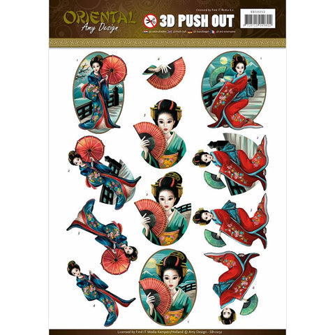 Find It Amy Design - Oriental Punchout Sheet - Oriental Geishas