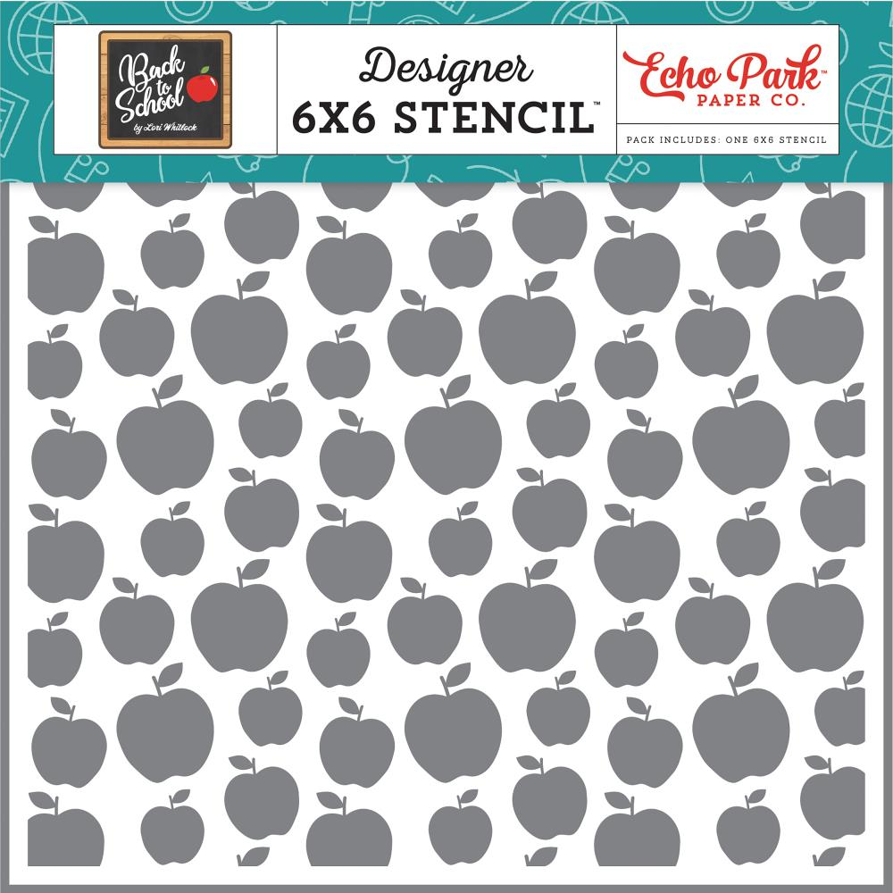 Echo Park Paper - Back To School Designer Stencils - Apple A Day