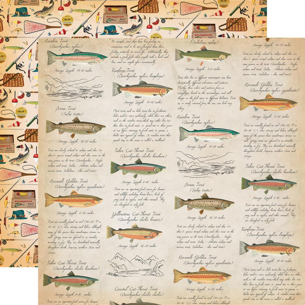 Carta Bella - Gone Camping Double-Sided Cardstock - Fish Facts