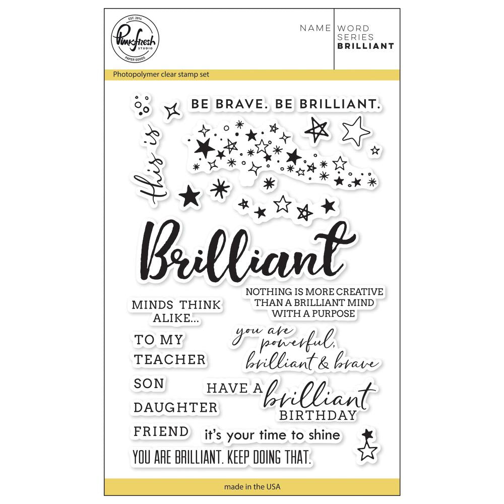 "Pinkfresh Studio - Clear Stamp Set 4""X6"" - Word Series: Brilliant"