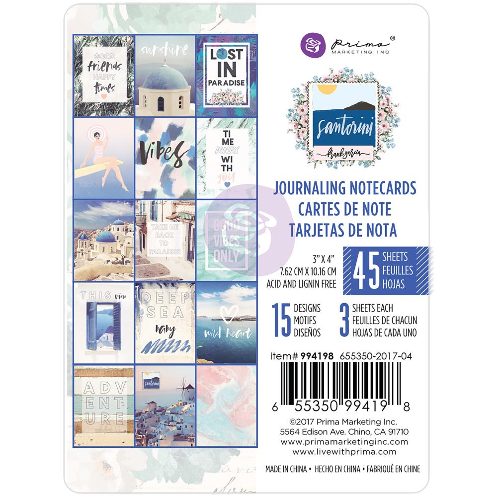 "Prima Marketing - Santorini Journaling Cards Pad 3""X4"" 45/Pkg  - 15 Designs/3 Each"