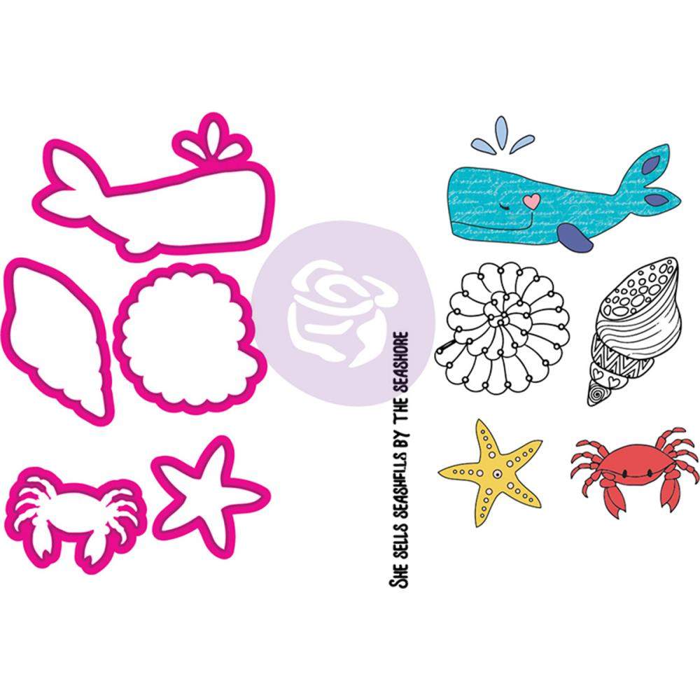 Prima Marketing - Julie Nutting Stamp & Die Set - Mermaid Kisses Sea Life