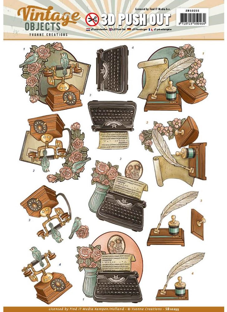 Find It Trading - Yvonne Creations Vintage Objects 3D Push Out - Vintage Communication