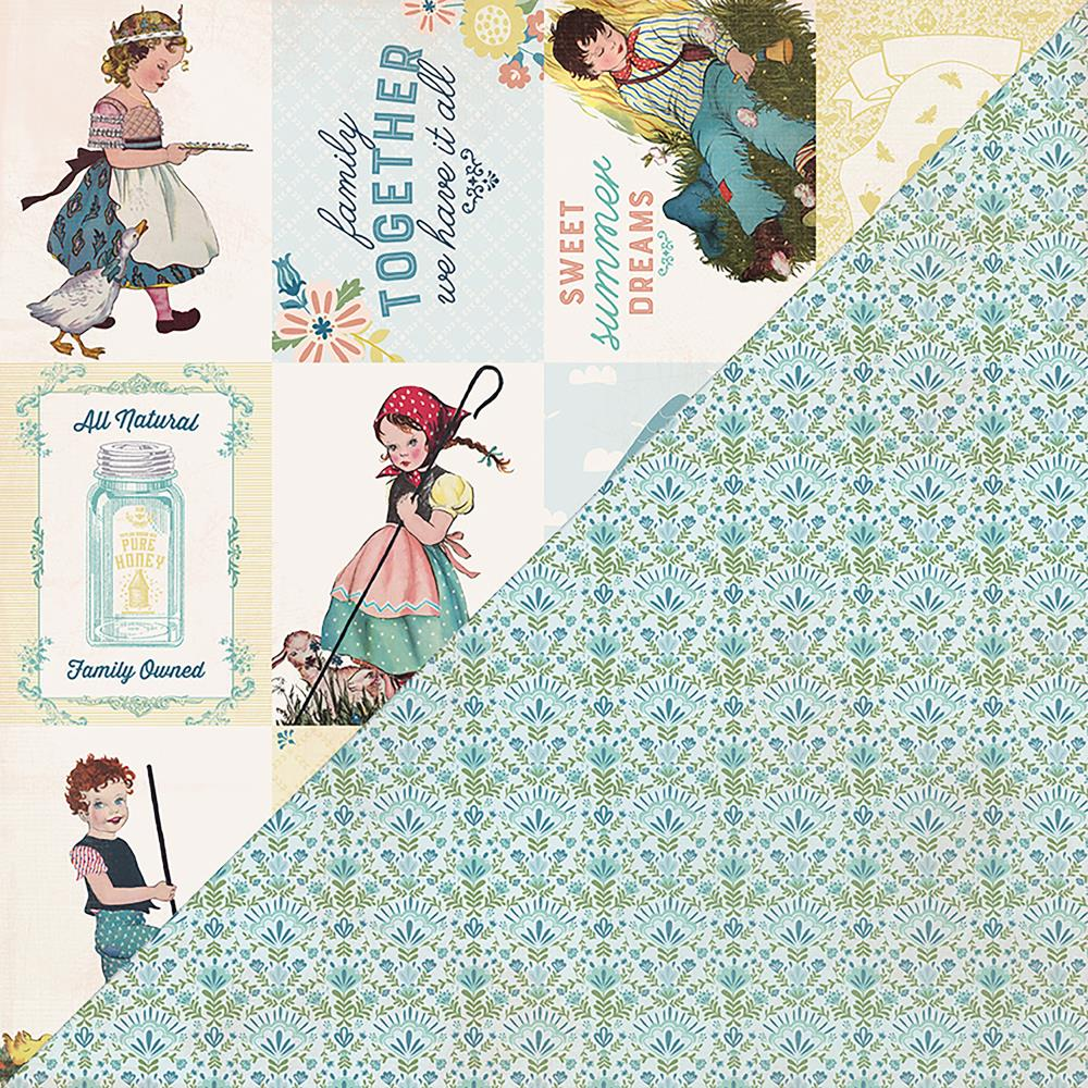 "Authentique Paper - Meadow Double-Sided Cardstock 12""X12"" - #8 Cut-Apart 3""X4"" Vintage Cards"