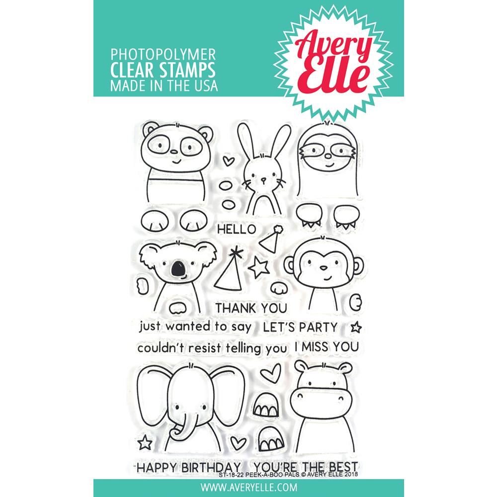 "Avery Elle - Clear Stamp Set 4""X6"" - Peek-A-Boo Pals"