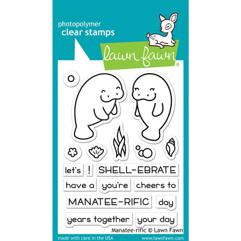 "(Pre Order) Lawn Fawn - Clear Stamps 3""X2"" - Manatee-Rific"