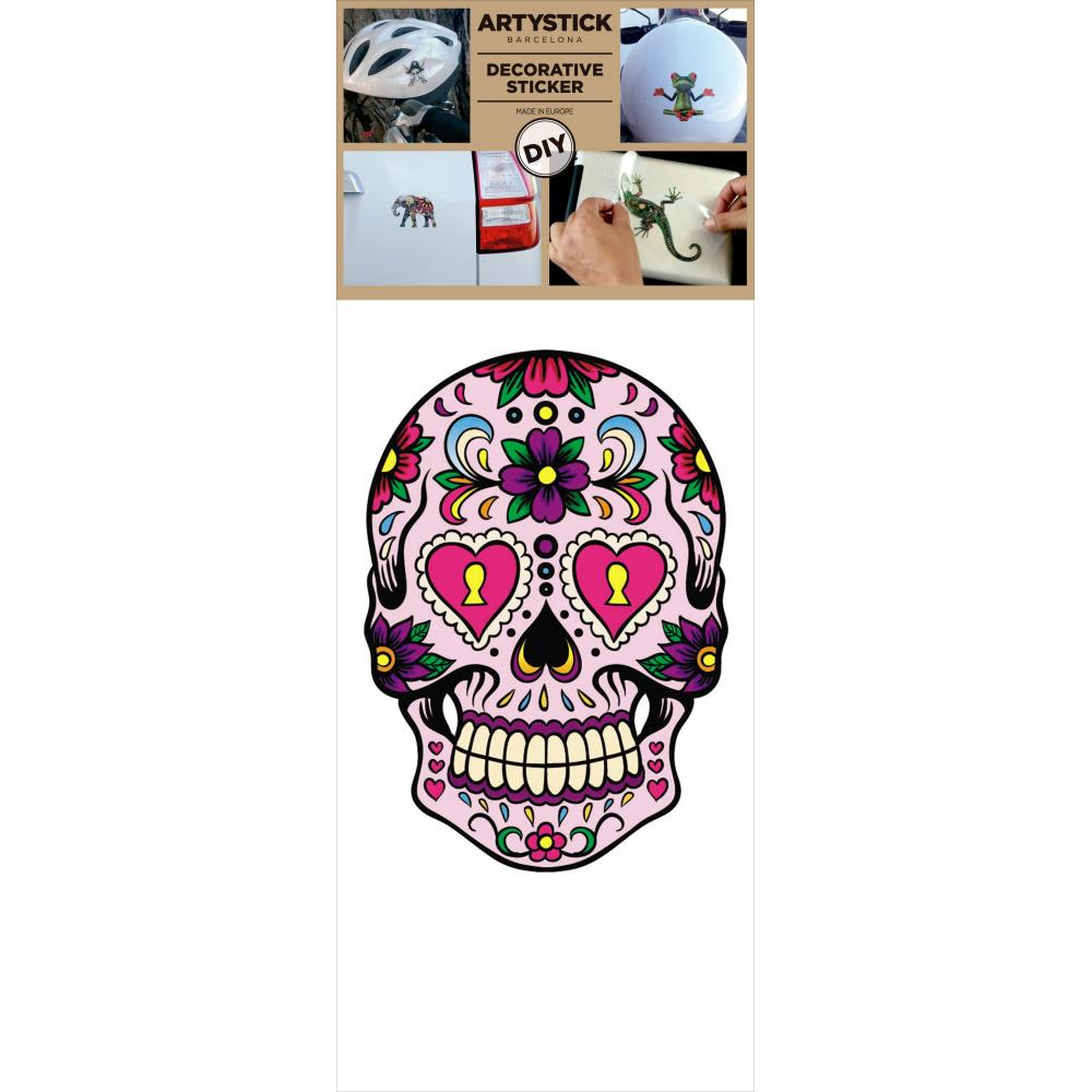 "Decorprint - Artystick Decorative Stickers 3.75""X7.75"" - Hippie Skull 1"