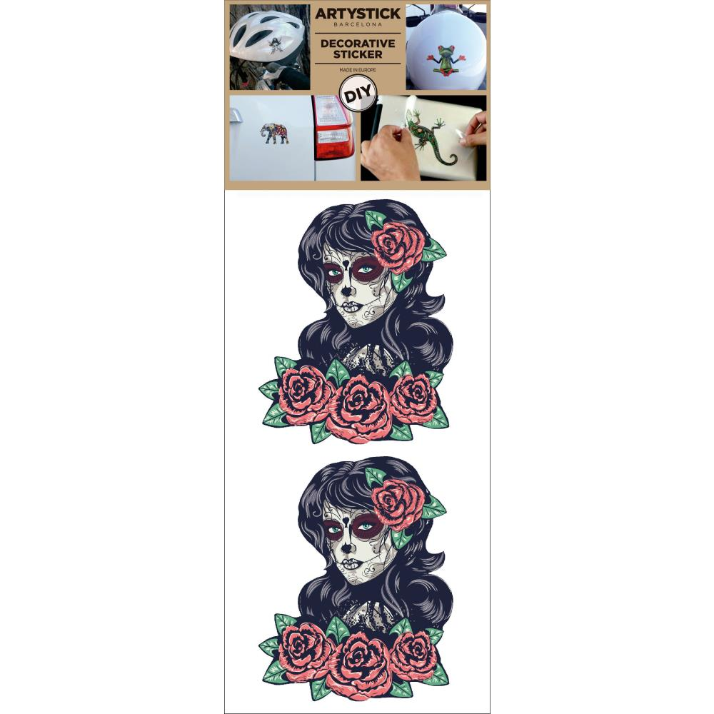 "Decorprint -Artystick Decorative Stickers 3.75""X7.75"" - Lady Death"