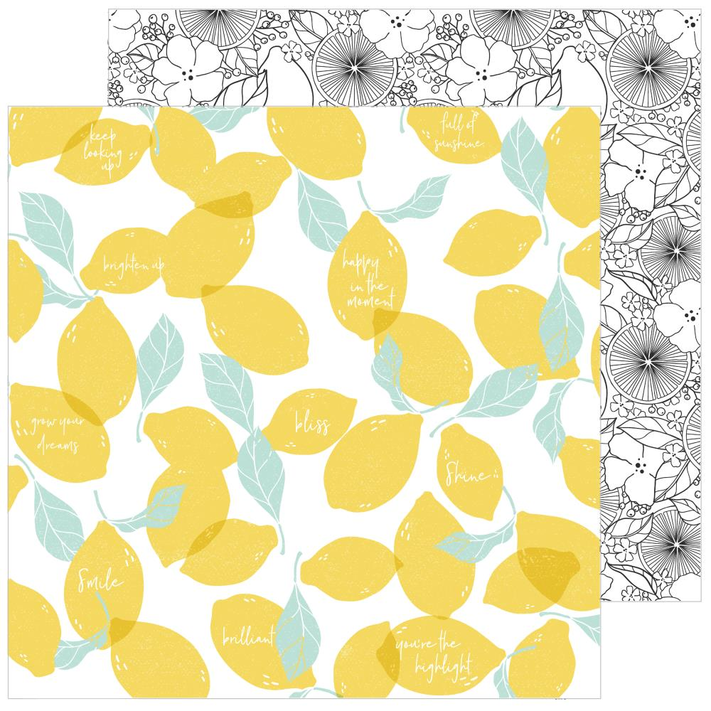 "Pinkfresh Studio - Simple & Sweet Double-Sided Cardstock 12""X12"" - Lemon Lush"
