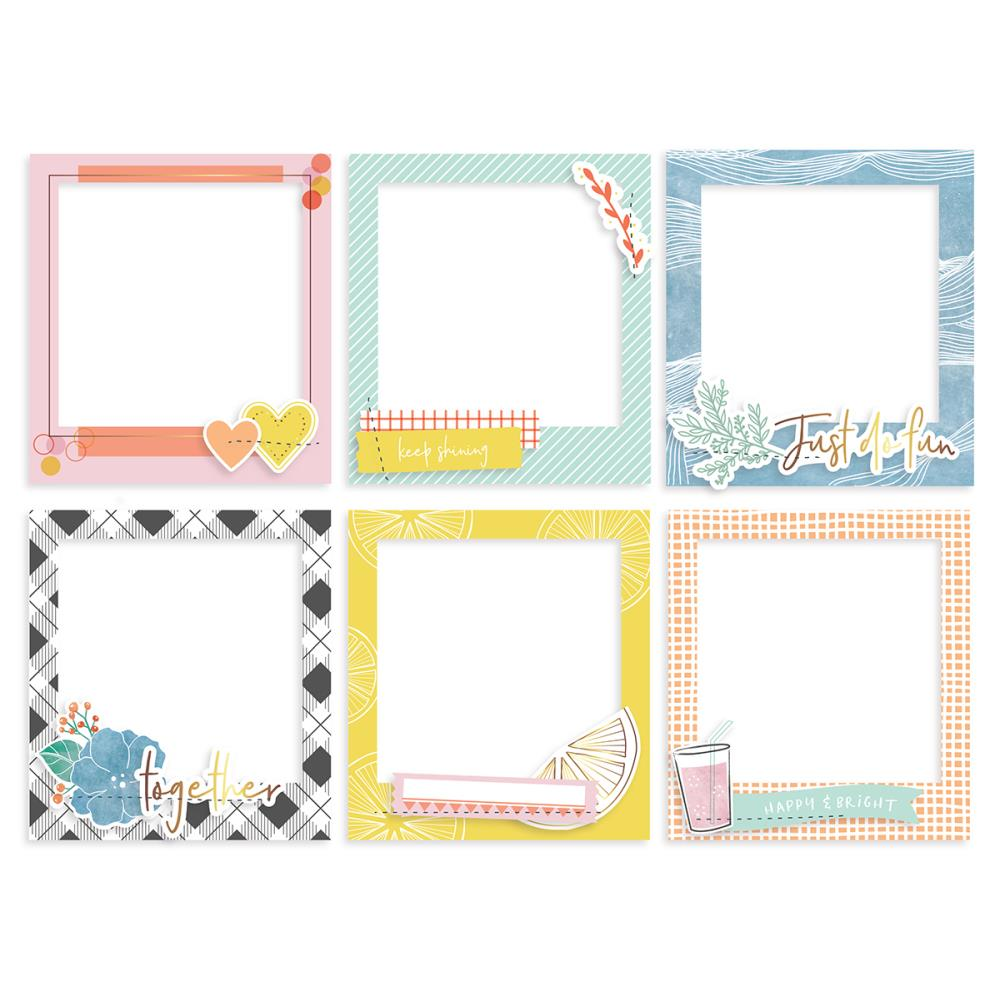 Pinkfresh Studio - Simple & Sweet Chipboard Stickers 6/Pkg - Gold Foil Frames W/Stitched Accents