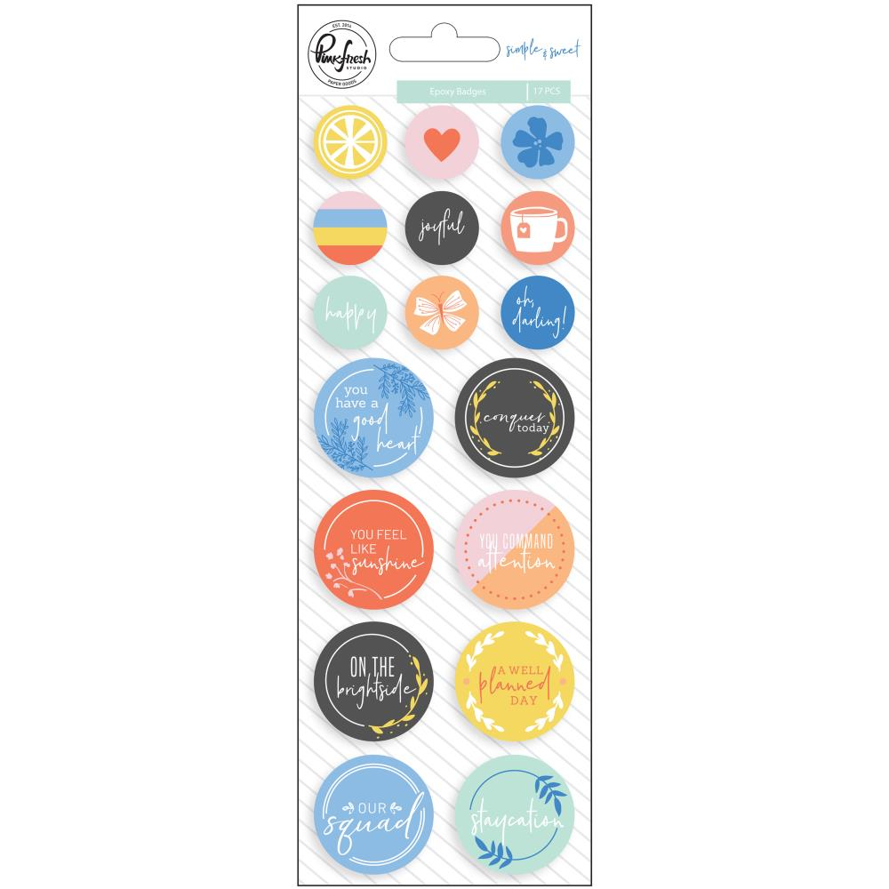 Pinkfresh Studio -Simple & Sweet Epoxy Stickers - 17/Pkg