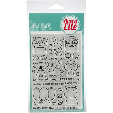 "(Pre-Order) Avery Elle - Clear Stamp Set 4""X6"" - Peek-A-Boo Pals"