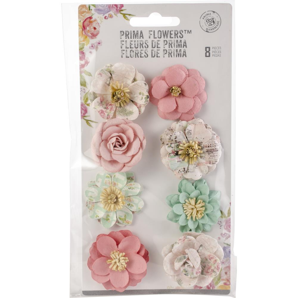 Prima Marketing -  Havana Mulberry Paper Flowers 8/Pkg - Blanca