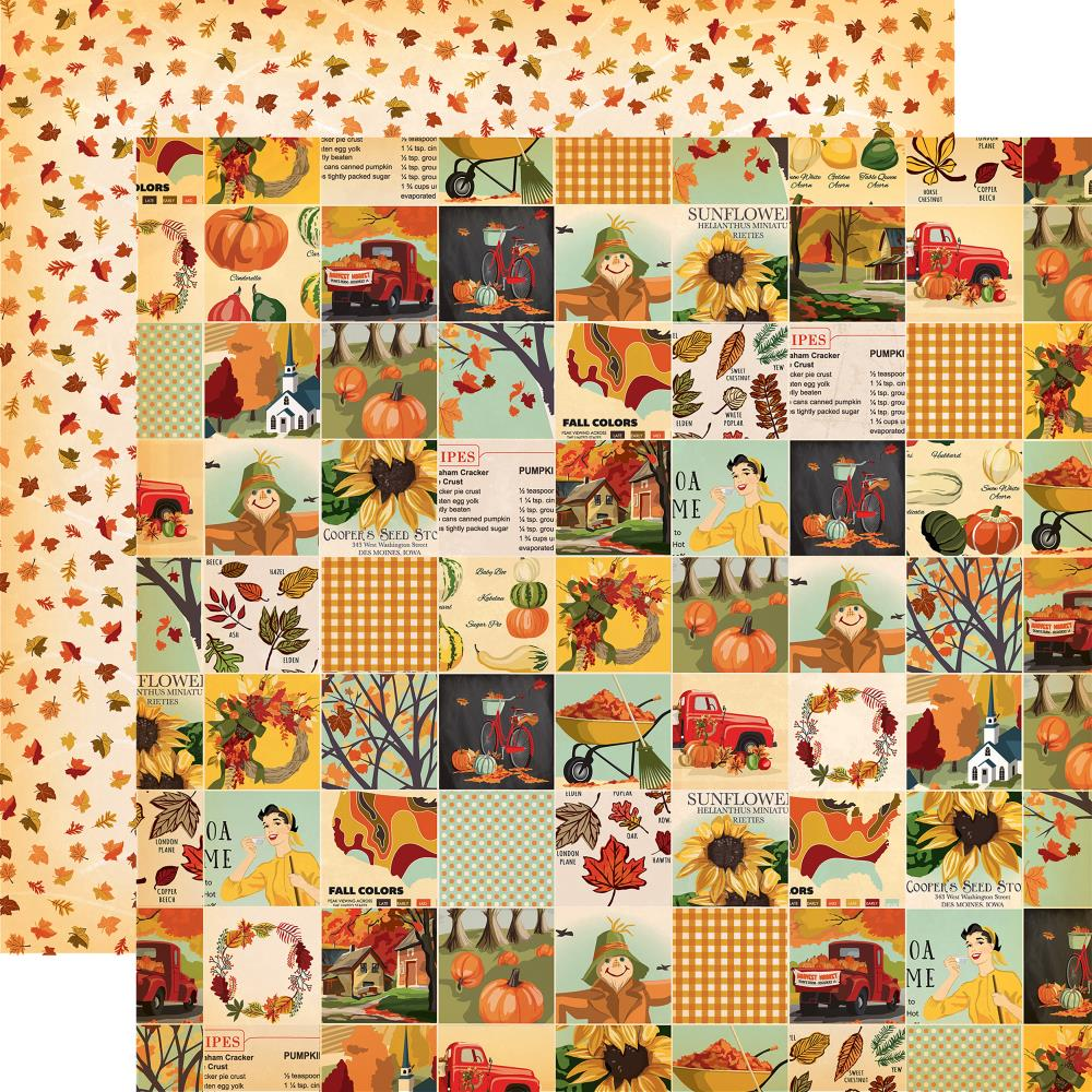 Carta Bella - Fall Break Double-Sided Cardstock - Fall Squares