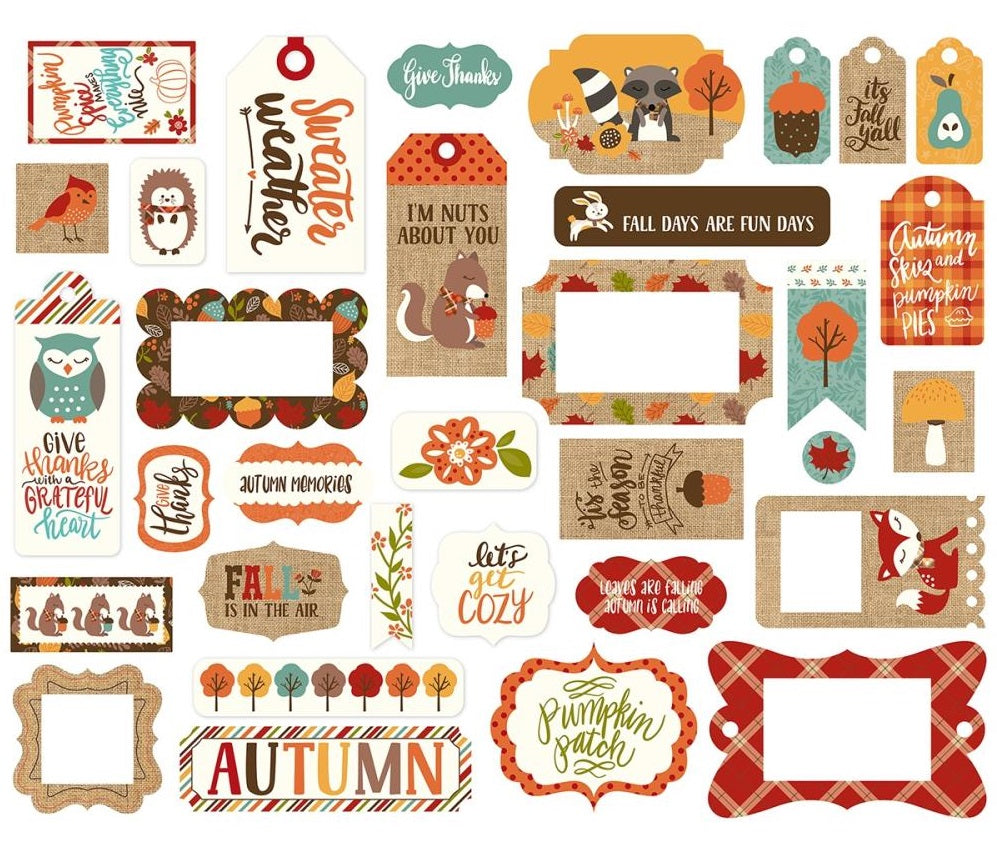 Echo Park Paper - Celebrate Autumn Ephemera - Frames & Tags