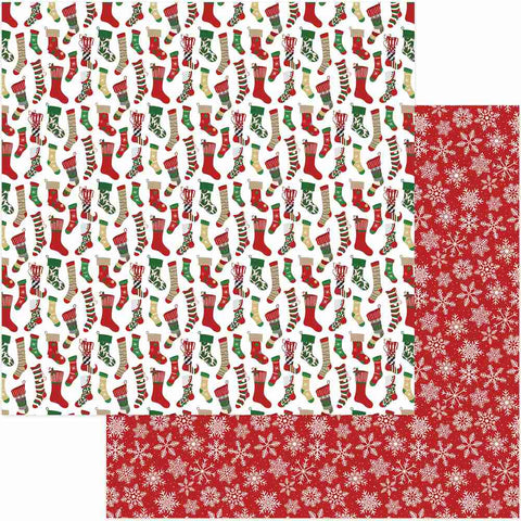 Photoplay Paper - Here Comes Santa Double-Sided Cardstock - Stockings