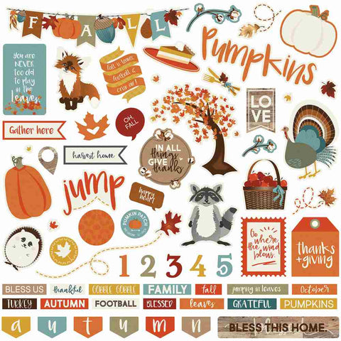 "Photoplay Paper - Fall Breeze Stickers - 12""x12"""