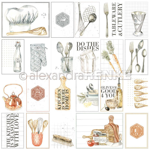 "Alexandra Renke - Cooking Paper 12""X12"" - Kitchen Is... Cut-Aparts"