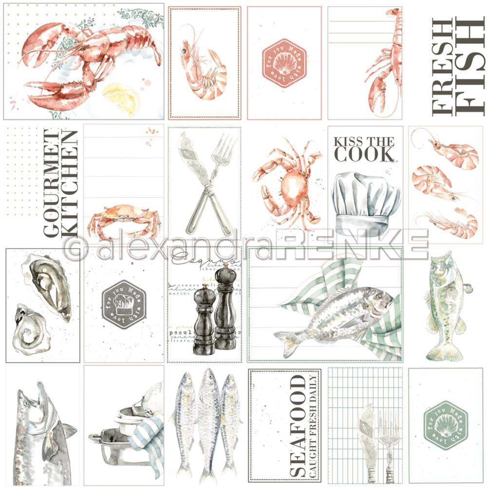 "Alexandra Renke - Cooking Paper 12""X12"" - Seafood Cut-Aparts"